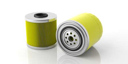 Filtros de aceite de motor de coche de color amarillo aislado sobre fondo blanco, vista de cerca con detalles. Ilustración 3d Foto de archivo