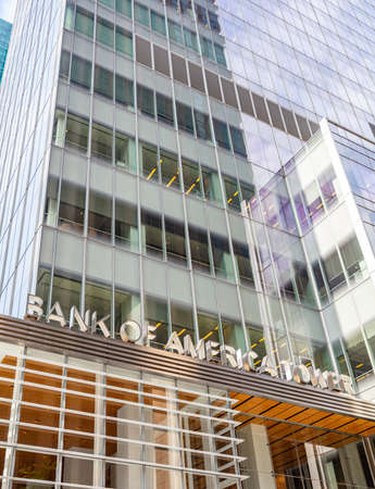 New York, USA. May 2nd, 2019. Bank of America Tower, glass building facade background, Manhatan