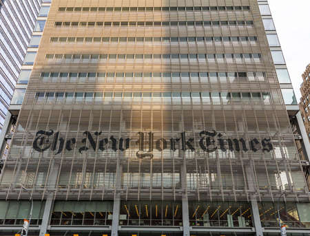 New York, USA. May 3rd, 2019. The New YorkTimes building facade background, Manhatan, Times square