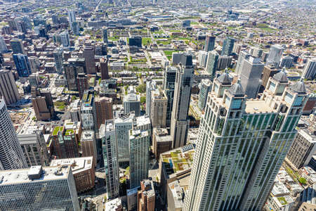 Chicago cityscape aerial view, spring day. High rise buildings background. High angle view from skydeck