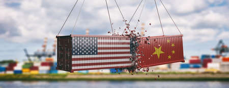 USA vs China trade war. US of America and Chinese flags on crushed containers, commercial harbor and cloudy sky background, banner. 3d illustration