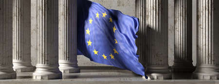 EU authority or european civilization concept. EU flag, classic greek marble stone columns building, banner. Pillars colonade. 3d illustration Imagens