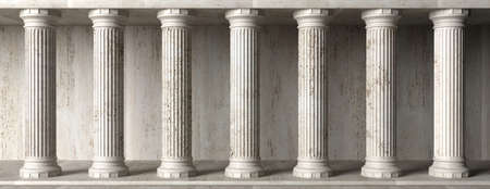 Classic Colums marble stone, banner. Pillars colonade, classical interior architecture, banner. 3d illustration