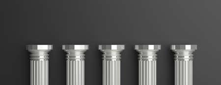 Fünf Spalten, silberne antike griechische Säulenhälfte, gegen schwarzen Wandhintergrund, Fahne, Kopienraum. 3D-Darstellung