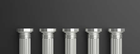 Five columns, Silver ancient greek pillars half, against black wall background, banner, copy space. 3d illustration