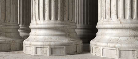 Classic greek columns marble stone, banner. Closeup view with details. 3d illustration