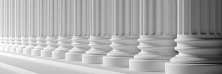Classic columns and stairs white color marble, banner. Court facade colonade. 3d illustration Imagens