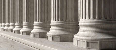 Classic columns and stairs marble stone, banner. Court facade colonade. 3d illustration