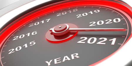 Cuenta atrás del año nuevo 2021. Velocímetro automático del calibre del coche, indicador acercándose a 2021. Ilustración 3d Foto de archivo