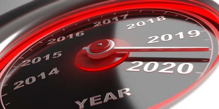 New year 2020 countdown. Auto car gauge speedometer, indicator approaching 2020. 3d illustration Stock Photo
