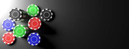 Casino-Konzept, Pokerchips auf schwarzem Tisch, Banner, Kopierraum, Draufsicht. 3D-Darstellung Standard-Bild
