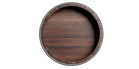 Tapa de barril, para vino cerveza. Barril de madera de color marrón aislado sobre fondo blanco. Ilustración 3d
