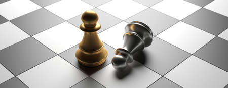 Winner, victory concept. Gold chess pawn standing while silver is down, chessboard background, banner, high angle view. 3d illustration