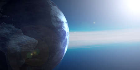 Earth planet and galaxy view at sunrise from space, blue background, copy space. 3d illustration