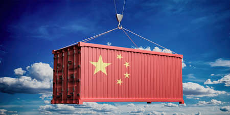 China trade, export, import concept. Chinese flag container on blue sky with clouds background. 3d illustration Stockfoto