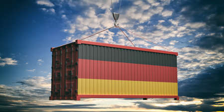 Germany products, export, import concept. German flag container on cloudy sky background at sunset. 3d illustration