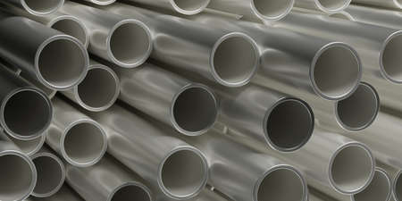 Pipes tubes steel metal background. Round shale stacked, products for utilities services, construction industry. 3d illustration Stock fotó