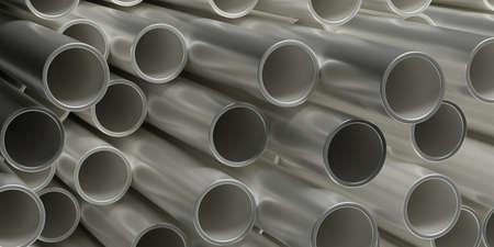 Rohre Rohre Stahl Metall Hintergrund. Rundschiefer gestapelt, Produkte für Versorgungsdienste, Bauindustrie. 3D-Darstellung Standard-Bild