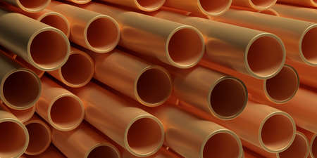 Copper pipes tubes background. Round shape metal tubing stacked, products for utilities services, construction industry. 3d illustration Stock Photo
