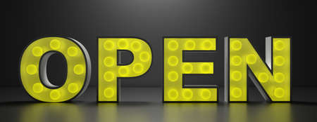 Open sign. Yellow color bright light open text glowing against black background, light bulbs illuminated, banner. 3d illustration,