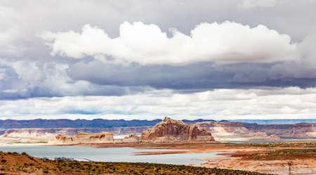 Lake Powell overlook, Arizona and Utah borders near Page AZ. US of America, spring day, cloudy sky