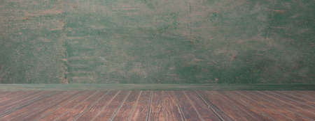 Room floor, wall panorama, rustic wood floor and green wall, empty room, space for presentation. 3d illustration