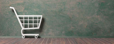 E shop, e commerce concept. Shopping cart trolley icon on empty room background, banner, copy space. 3d illustration