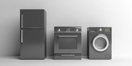 Home appliances set black color against white background. Fridge, electric stove and washing dryer machine. 3d illustration Stock Photo