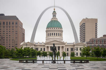 Saint Louis gateway arch and Kiener Park, Missouri, US of America, cloudy spring day.
