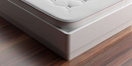Bed mattress closeup view. Mattress on a white bed, wood parquet floor, interior bedroom detail. 3d illustration. Comfort sleep, good dreams 写真素材