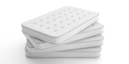 Mattresses stack isolated on white background. 3d illustration. Comfort sleep, good dreams