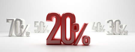 20 percent discount text on white background, banner. 20% off, Sale 20% concept. 3d illustration Stock fotó - 130112037