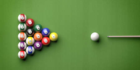 Cue ball, billiard table. Pool balls in a triangle shape and stick on green felt, top view. 3d illustration