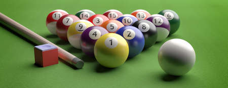 Billiard table, pool balls set in a triangle shape on green felt, banner, closeup view. 3d illustration