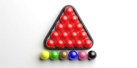 Snooker billiard, pool balls set in a triangle shape rack isolated on white background, top view. 3d illustration Stock fotó