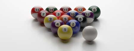 Billiard pool balls set isolated against white background, banner. 3d illustration