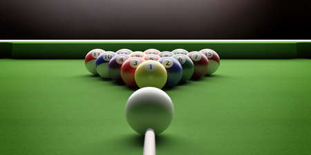 Cue ball, billiard table. Pool balls in a triangle shape and stick on green felt, closeup view. 3d illustration