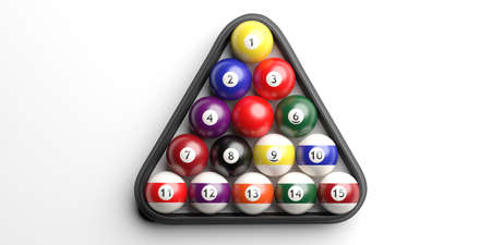 Billiard pool balls set isolated against white background in triangle shape rack, top view. 3d illustration