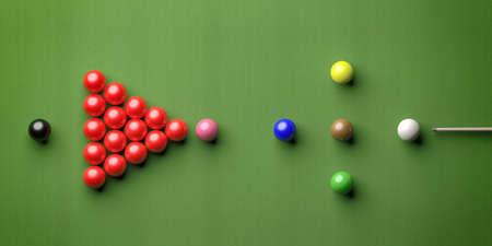 Snooker billiard table, pool balls set in a triangle shape on green felt, top view. 3d illustration Stock fotó