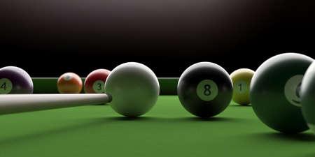 Billiard table. Pool balls and stick on green felt, closeup view. 3d illustration Stock fotó