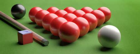 Snooker billiard table, pool balls set in a triangle shape on green felt, closeup view, banner. 3d illustration Stock fotó