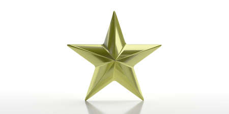 Gold star. Golden star single isolated against white background. Christmas, ranking concept. 3d illustration