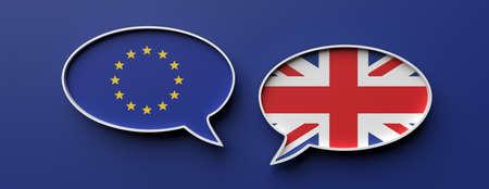 UK and EU brexit, no deal. English and European Union flag speech bubbles against blue background, banner. 3d illustration Foto de archivo - 130112083