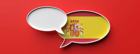 Communication in spanish language, translation. Spain flag speech bubble and blank bubble against red background, banner. 3d illustration
