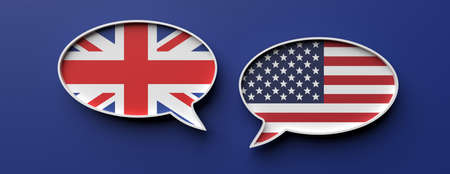 UK and US communication. English and american flag speech bubbles against blue background, banner. 3d illustration Foto de archivo - 130112119