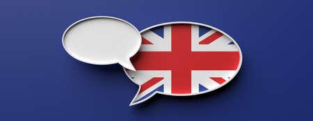 Communication in English language, translation. UK flag speech bubble and blank bubble against blue background, banner. 3d illustration Foto de archivo - 130112144