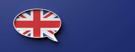 English language concept. UK flag speech bubble against blue background, banner, copy space. 3d illustration Foto de archivo - 130112149