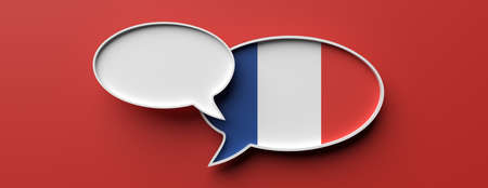 Communication in french language, translation. France flag speech bubble and blank bubble against red background, banner. 3d illustration