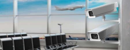 CCTV Security Cameras. Surveillance cam at airport terminal, blur empty waiting area background, banner, copy space. 3d illustration