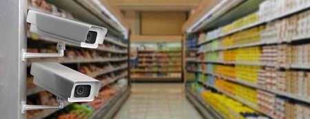 CCTV Security Cameras. Surveillance cam at supermarket blur background, banner, copy space. 3d illustration